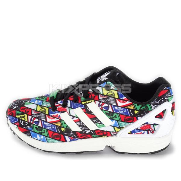 chaussures supra vaider - Adidas ZX Flux B24904 Original Running Logos Multi Color White | eBay
